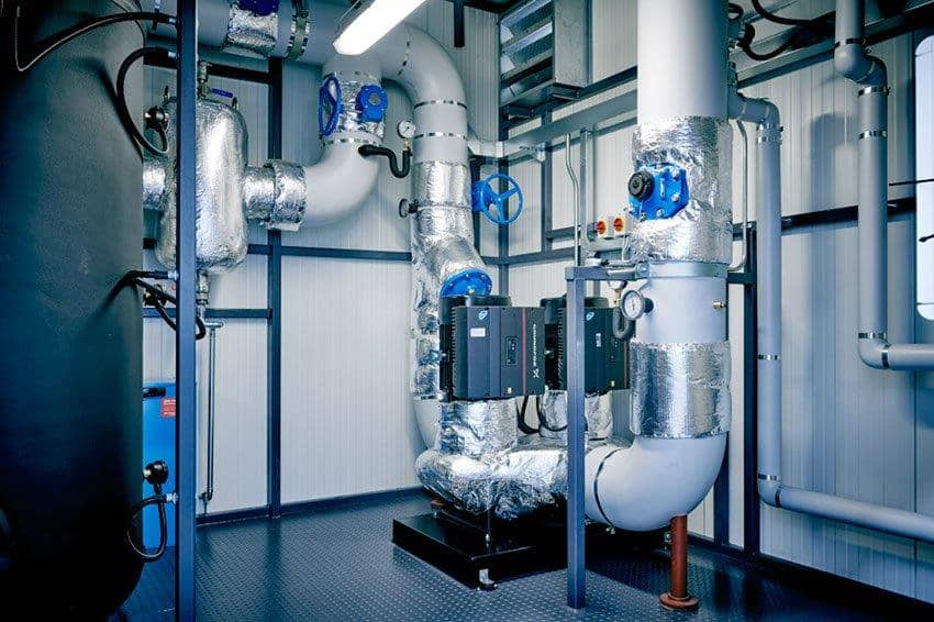 The interior of a chilled plant room