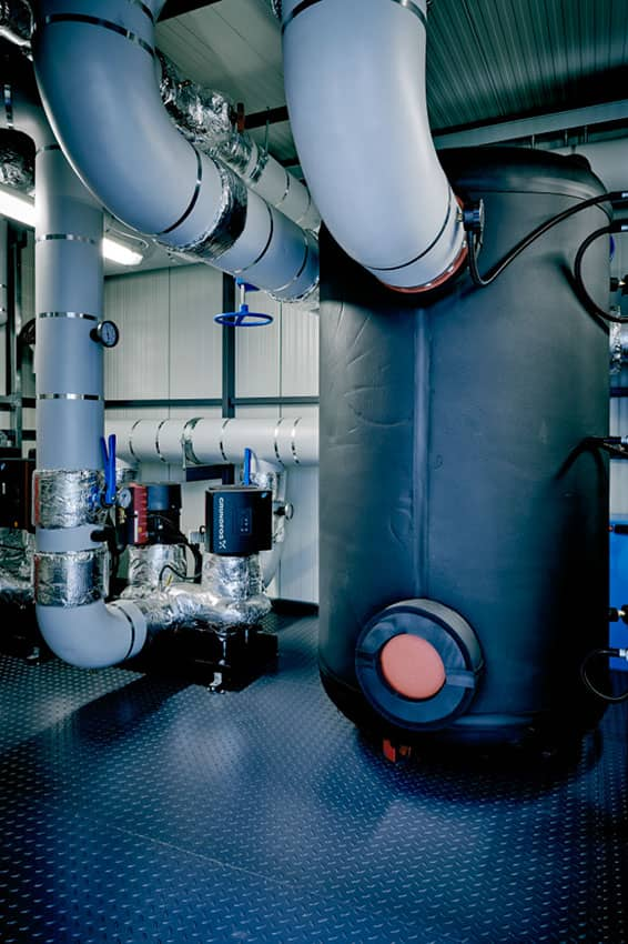 View of a water tank in a chilled plant room