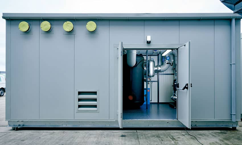 Exterior view of a chilled plant room