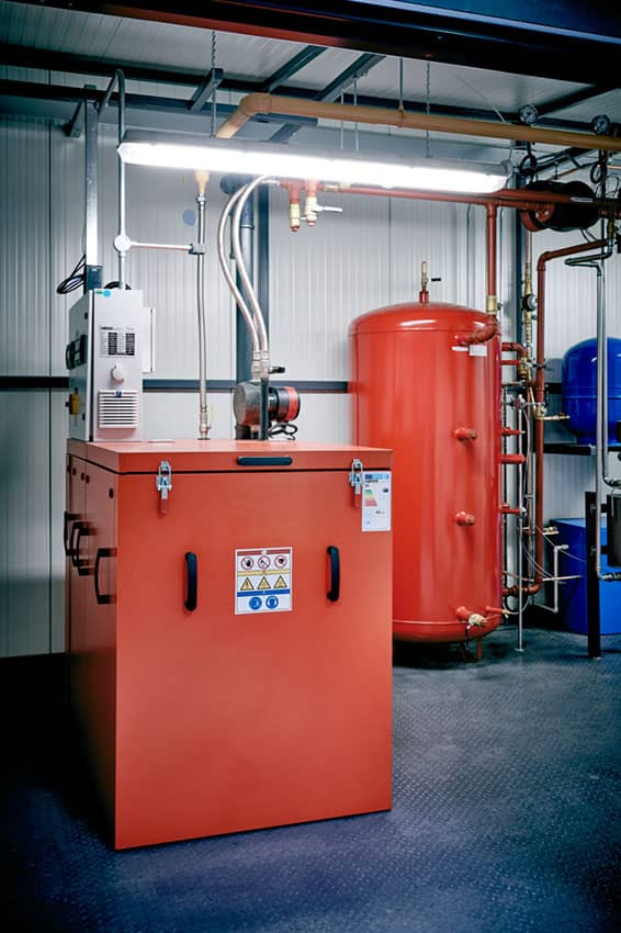 Remeha boilers ready for use in a combined heat and power plant room